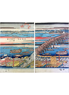 Fireworks over Nihonbashi Bridge by Ando Hiroshige