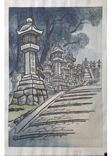 A Row of Stone Lanterns at Kasuga Shrine by Ito Nisaburo