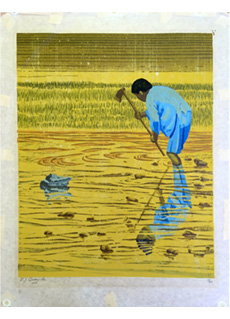 Worker in Rice Field by E J Quayle
