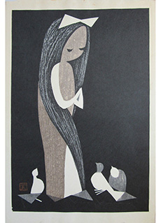 Doves and Girl by Kaoru Kawano