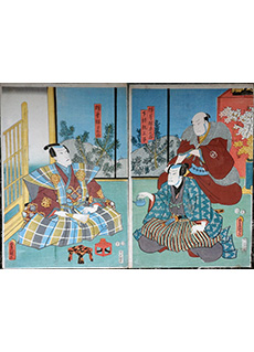 Serving Sake Diptych by Utagawa Kunisada