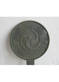 Japanese Bronze Hand Mirror Meiji Era