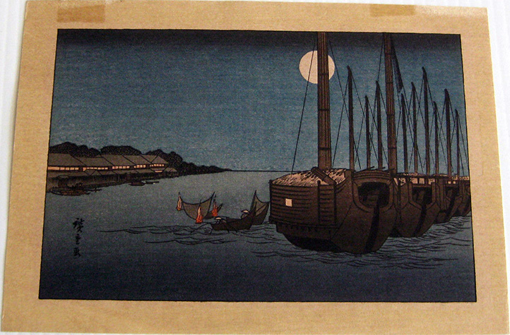 Moonlit Boats on River by Ando Hiroshige