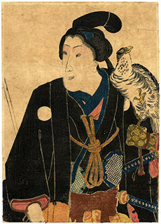 Standing Samurai with Hawk by an Unknown Edo Era Artist