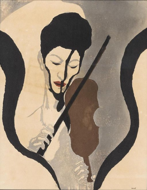Impression of a Violinist by Koshiro Onchi