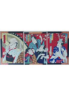 Kunichika Umbrella Triptych Woodblock