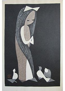 Doves and Girl by Kaoru Kawano