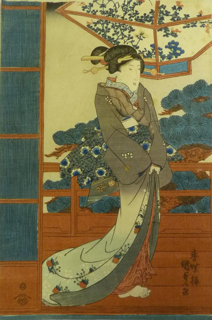 Beautiful Woman Woodblock Print by Utagawa Kunisada