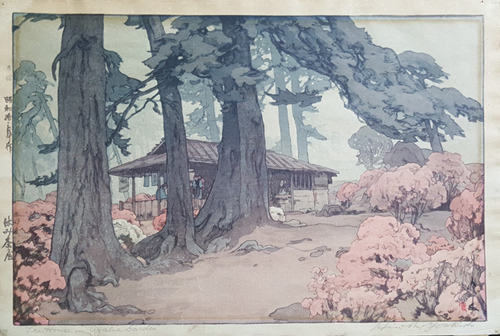 Tea House in Azalea Garden by Hiroshi Yoshida Jizuri Seal