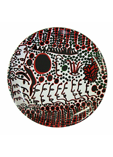 Women Wait For Love But Men Always Walk Away Ceramic Plate by Yayoi Kusama