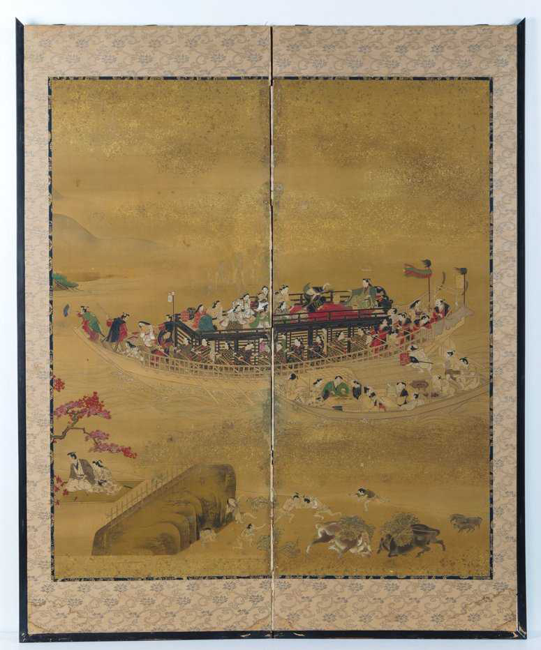 Two Panel Silk Painting attributed to Hishikawa Moronobu