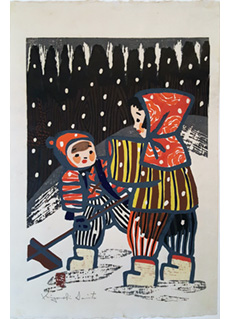 Two Children in the Snow by Kiyoshi Saito
