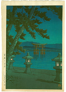 Moonlight Night at Miyajima by Kawase Hasui