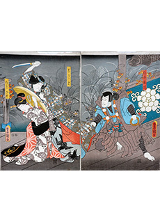 Beauty Knife Attack Diptych by Toyokuni