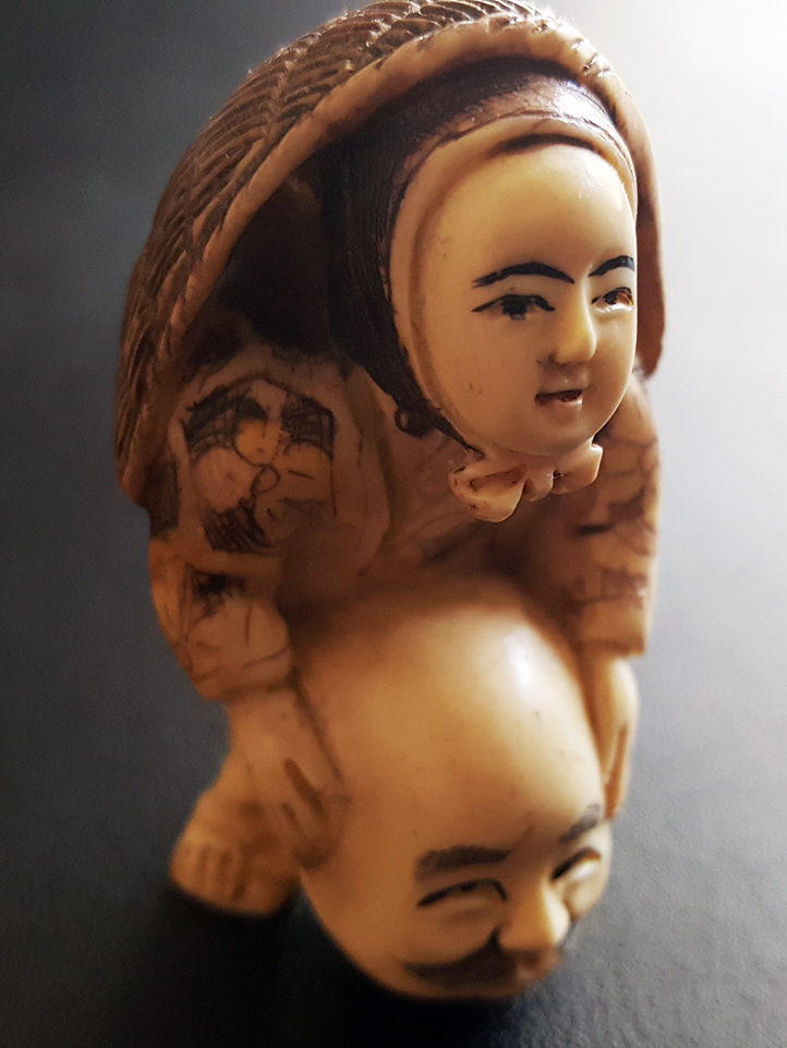 19th Century Japanese Netsuke Boy with Mask