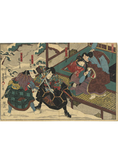 Kabuki Theatre Battle Scene in Snow by Kunisada