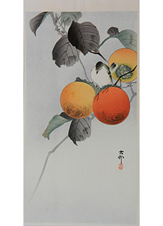 Nuthatch and Persimmon by Ohara Koson