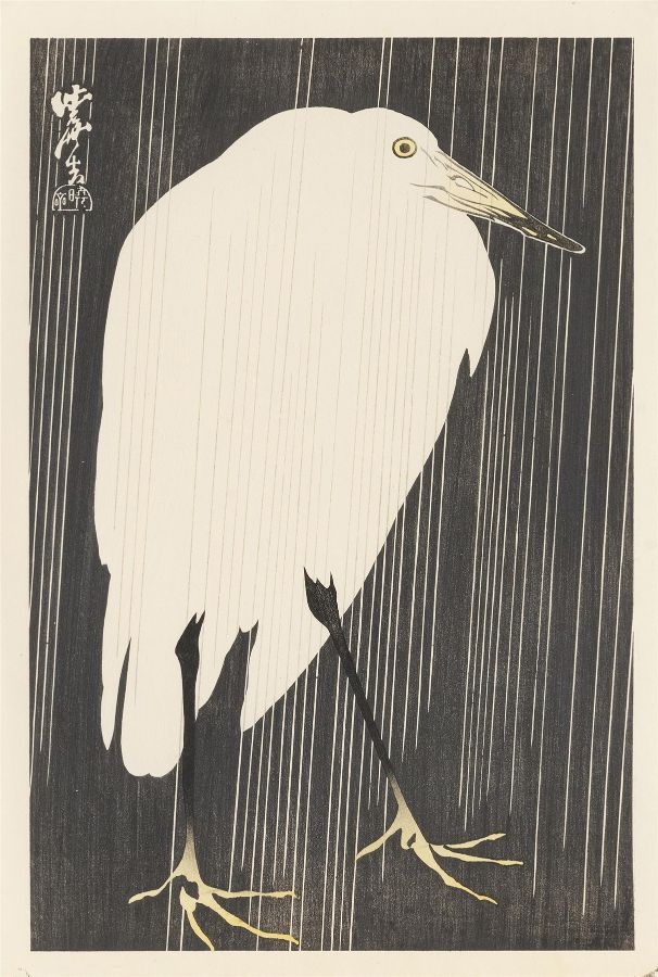 Crane With Falling Rain by Kawanabe Kyosai
