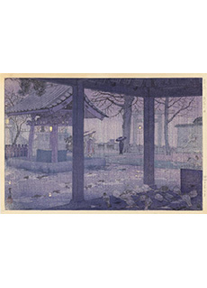 Spring Rain at Yushima Tanjin Shrine by Shiro Kasamatsu